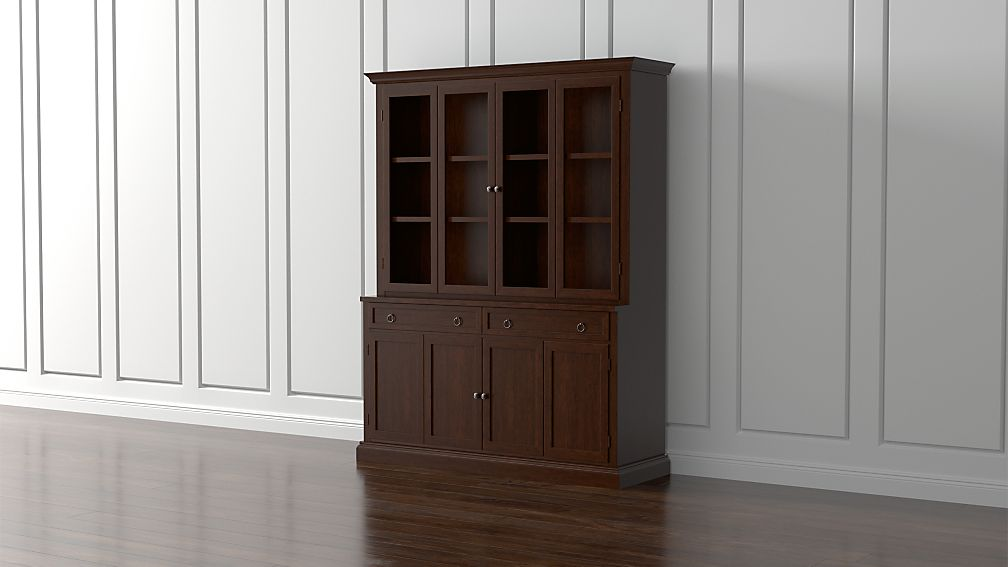 Cameo 2-Piece Aretina Walnut Glass Door Wall Unit