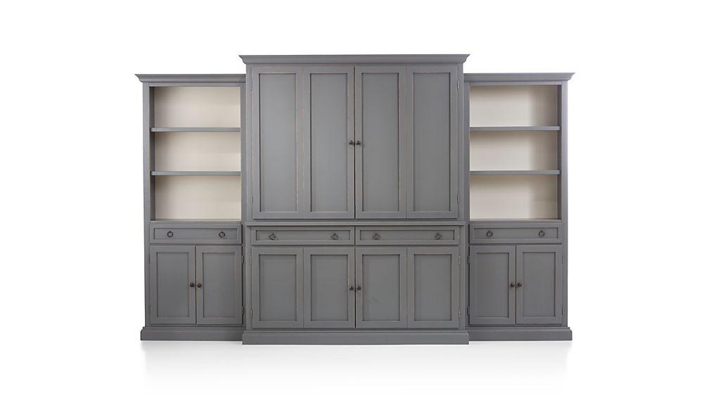 Cameo 4-Piece Grey Storage Bookcase Entertainment Center