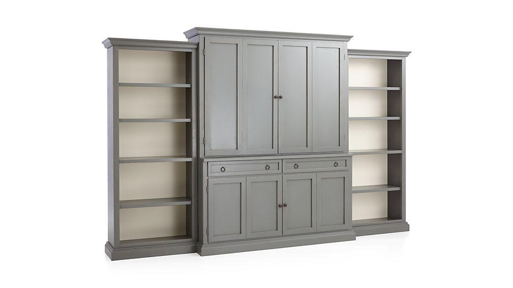 Cameo 4-Piece Grey Open Bookcase Entertainment Center