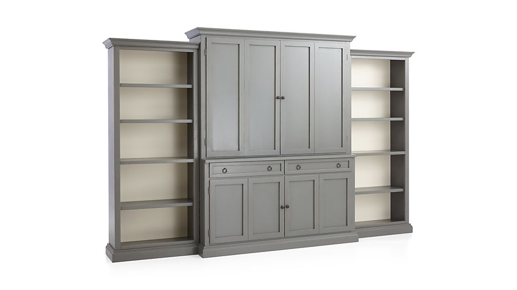 Cameo 4-Piece Grey Open Bookcase Entertainment Center