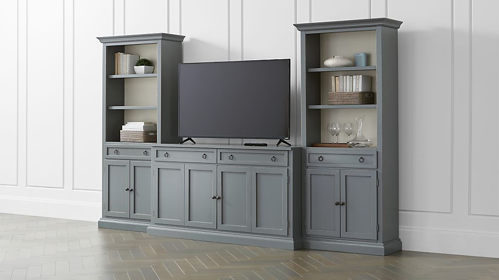 Cameo 3 Piece Modular Grey Media Entertainment Center With Storage  Bookcases ...