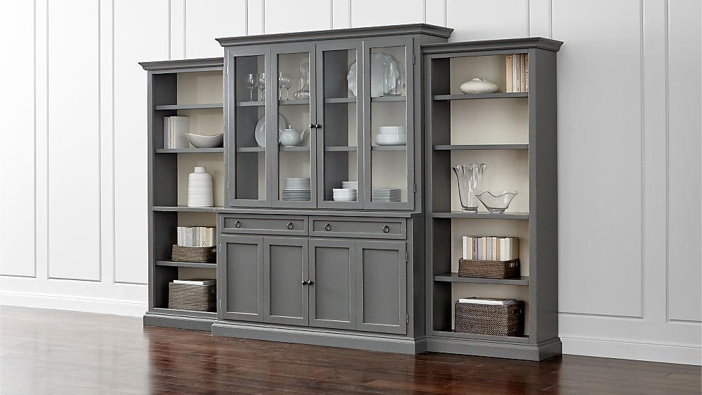 Cameo 4 Piece Grey Glass Door Wall Unit W Open Bookcases Crate