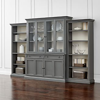 Cameo 4 Piece Grey Gl Door Wall Unit With Open Bookcases