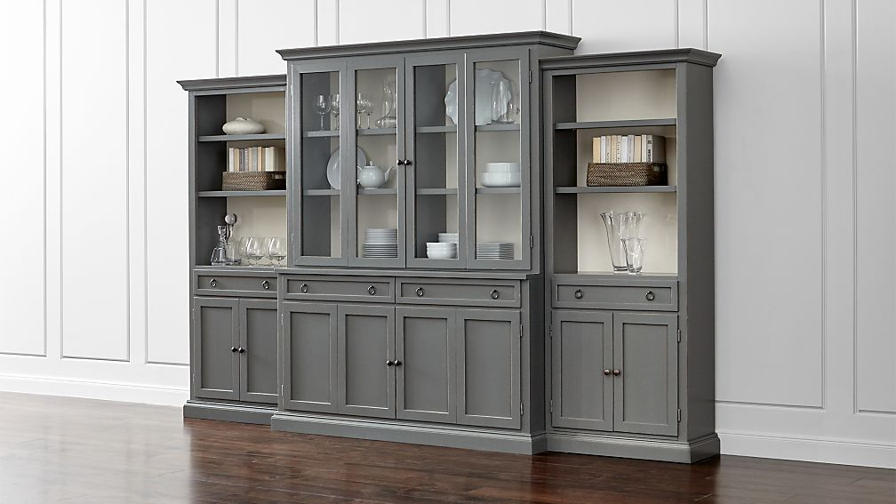 Cameo 4 Piece Modular Grey Glass Door Wall Unit With Storage