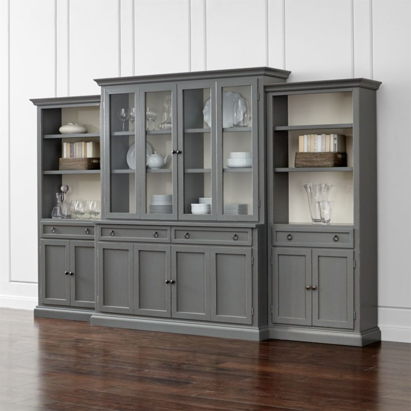 Pin It Cameo 4-Piece Modular Grey Glass Door Wall Unit: Media Console,  Hutch with