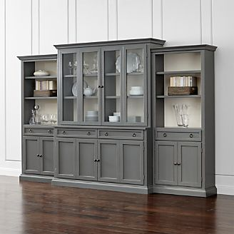 Cameo 4 Piece Modular Grey Glass Door Wall Unit With Storage Bookcases