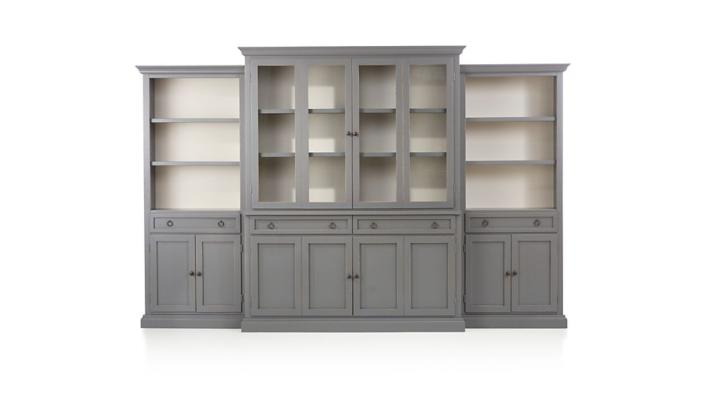 Cameo 4-Piece Grey Glass Door Wall Unit w/Open Bookcases