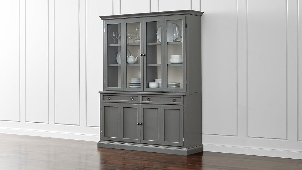 Cameo 2-Piece Grey Glass Door Wall Unit + Reviews | Crate and Barrel