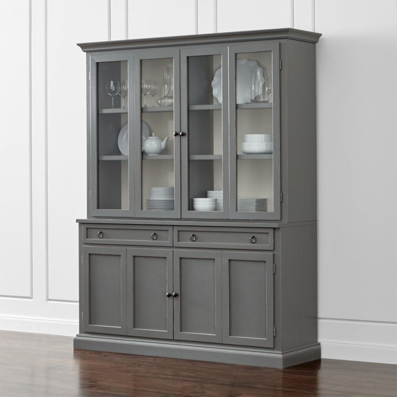 Cameo 2 Piece Grey Glass Door Wall Unit Dining Room Storage  Crate and Barrel