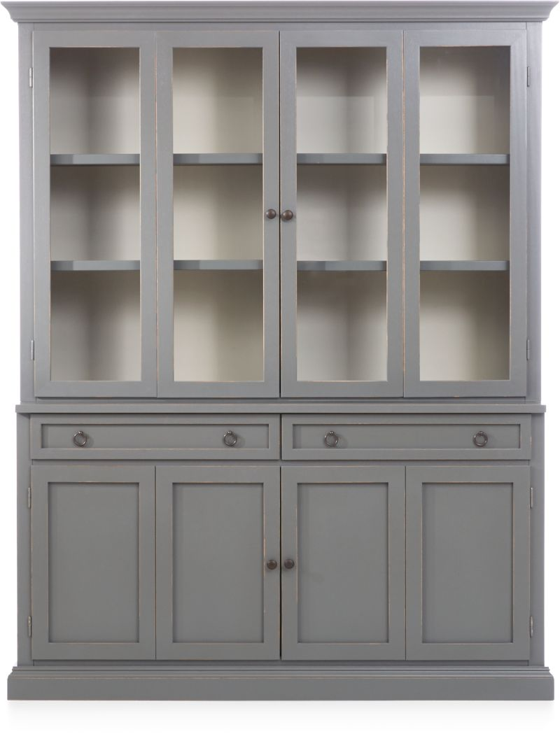 Cameo 2-Piece Grey Glass Door Wall Unit & Cameo Grey Modular Storage Collection | Crate and Barrel