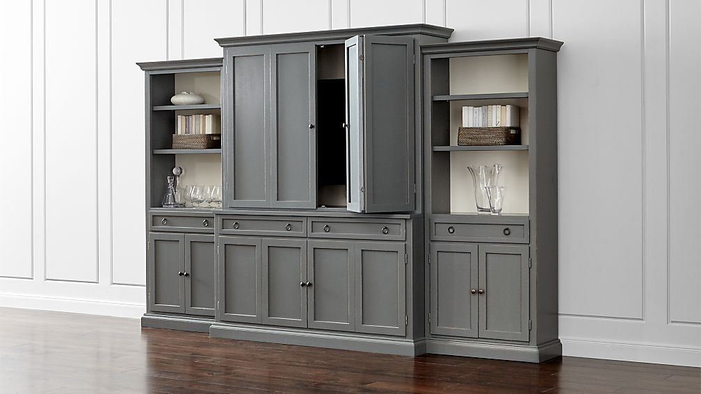 Cameo 4-Piece Grey Storage Bookcase Entertainment Center - Image 1 of 7