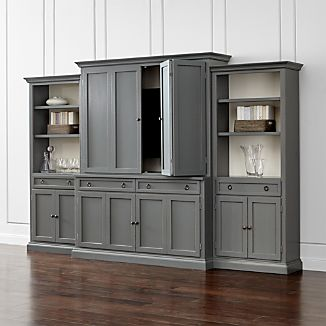 cameo 4 piece grey storage bookcase entertainment center - Living Room Storage Furniture