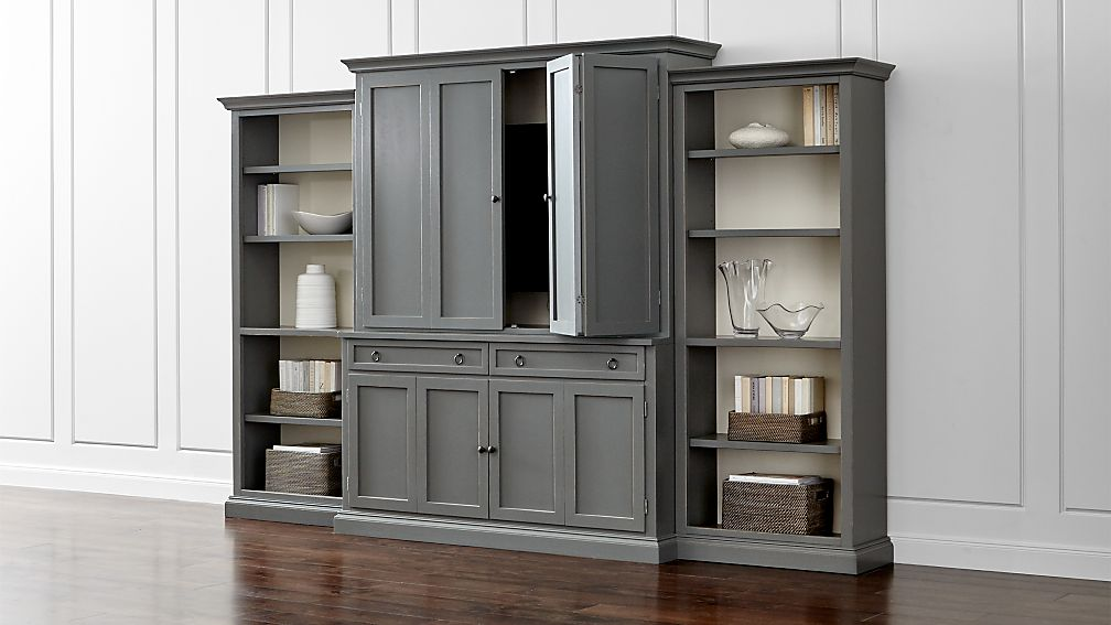 Cameo 4-Piece Grey Open Bookcase Entertainment Center - Image 1 of 7