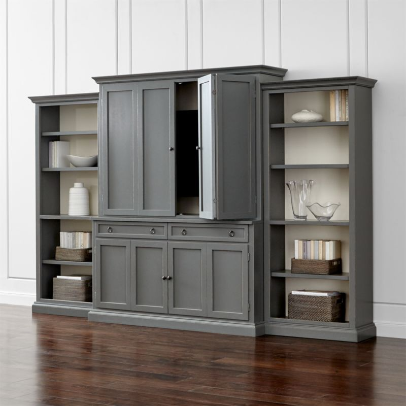 Cameo 4 Piece Grey Open Bookcase Entertainment Center