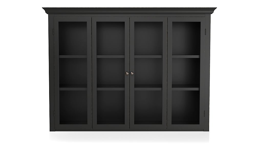 Cameo Bruno Black Modular Hutch with Glass Doors