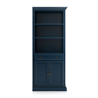 Cameo Indigo Storage Bookcase with Right Crown