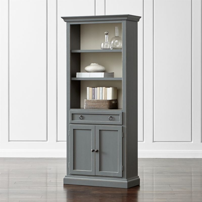 - Cameo Grey Storage Bookcase Crate And Barrel