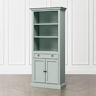 Cameo Blue Grey Storage Bookcase With Full Crown