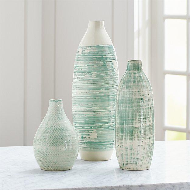 Camila/Cara/Celeste White and Aqua Vases - Image 1 of 8