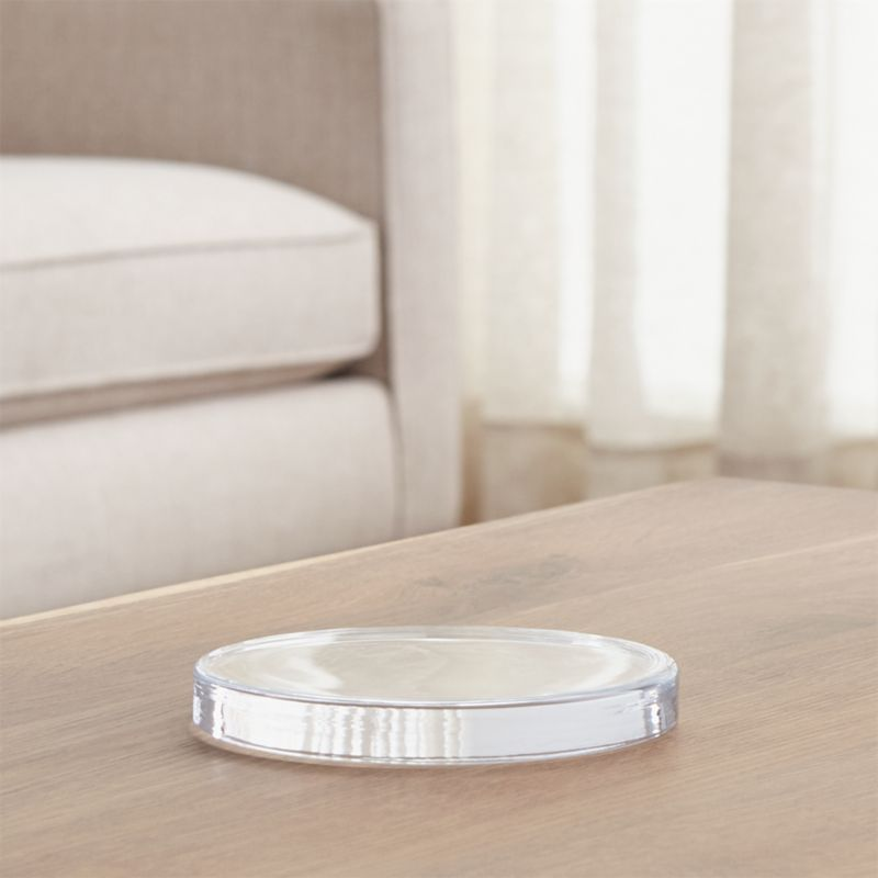 """5"""" Round Glass Coaster//candle Holder Very Nice."""