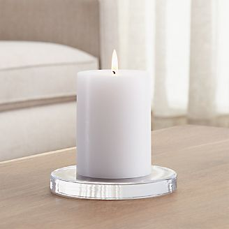 Large Round Glass Candle Plate Coaster & Candle Holders: Votive Pillar and Lantern | Crate and Barrel