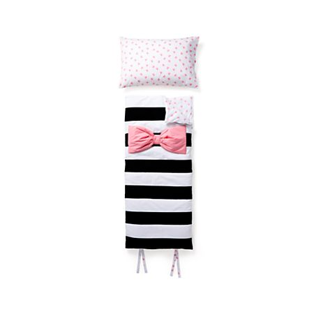 reputable site d3adf 883c5 Pink Bow Striped Toddler Sleeping Bag and Pillowcase