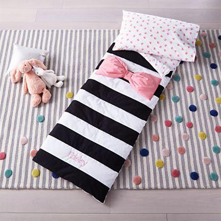 Pink Bow Striped Toddler Sleeping Bag