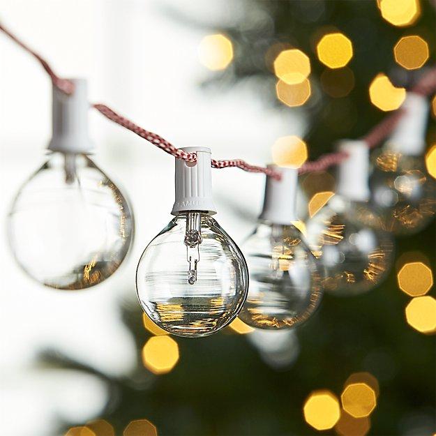 candy cane clear globe lights - Christmas Globe Lights