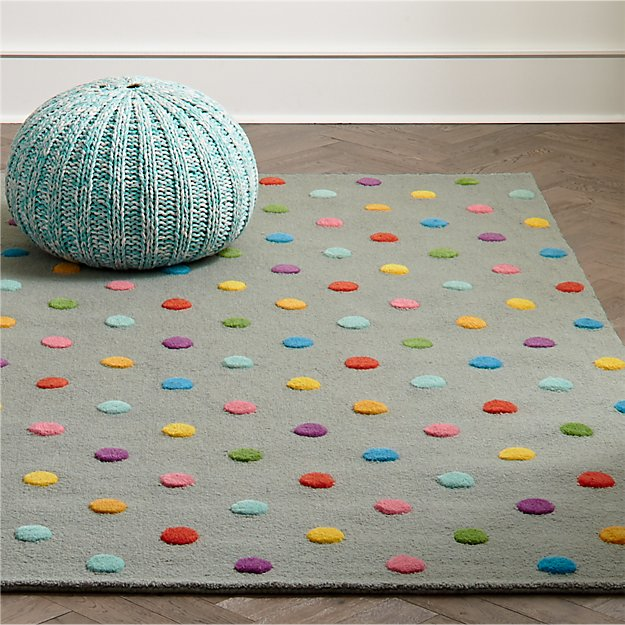Kids Rugs Kids Multi Color Dot Candy Grey Rug Crate