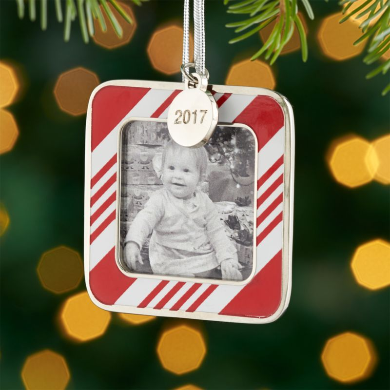 candy stripe ornament frame with 2017 charm - Christmas Tree Ornament