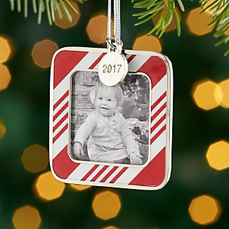 Candy Stripe Ornament Frame with 2017 Charm