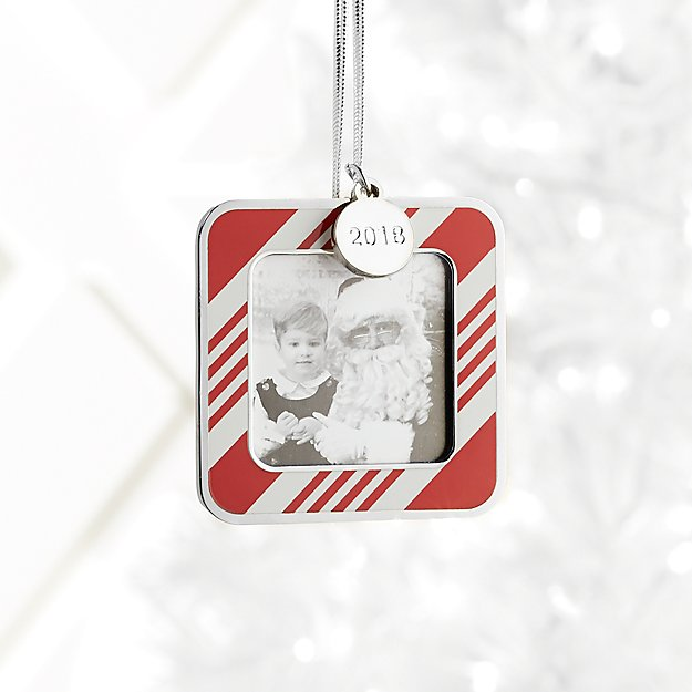 Candy Stripe Photo Frame Ornament with 2018 Charm + Reviews   Crate ...