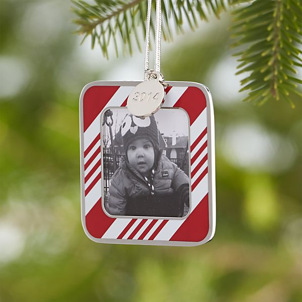 Candy Stripe Photo Frame Ornament with 2014 Charm