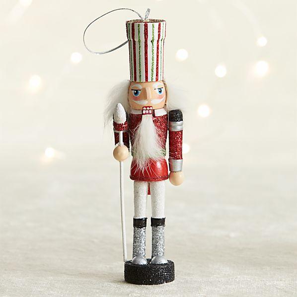 Red Guard Candy Stripe Nutcracker Ornament