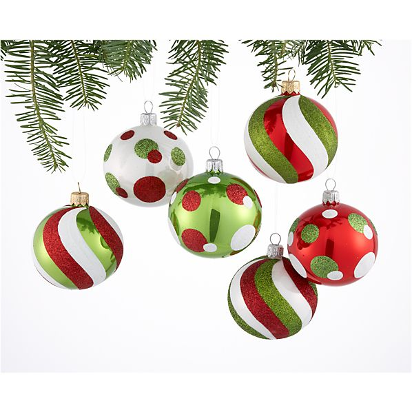 Set of 6 Candy Swirl Ball Ornaments