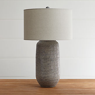 Cane Grey Table Lamp