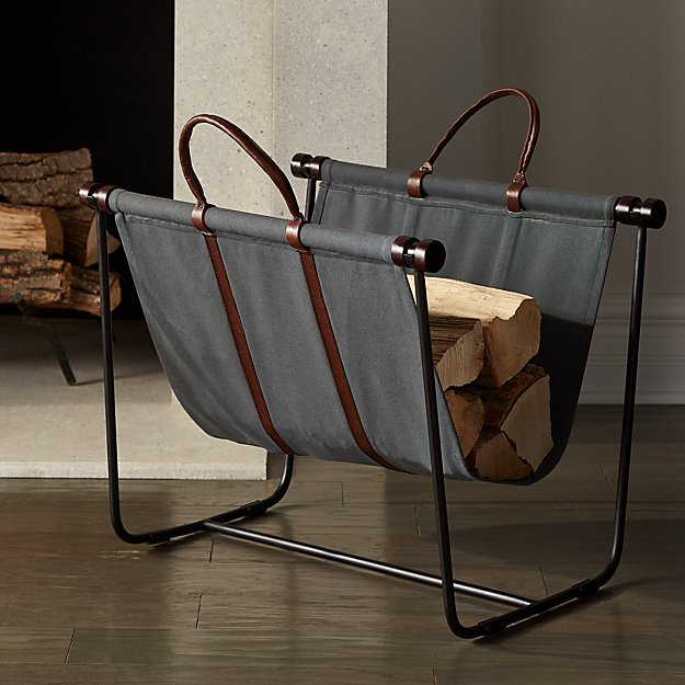 Canvas and Leather Log Carrier with Stand - Image 1 of 5