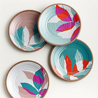Caprice Floral Melamine Salad Plates, Set of 4