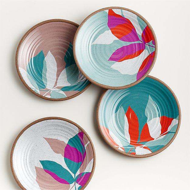 Caprice Floral Melamine Salad Plates, Set of 4 - Image 1 of 3