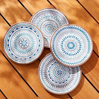 Caprice Medallion Melamine Salad Plates Set of 4 & Melamine Dishes: Plates and Bowls | Crate and Barrel