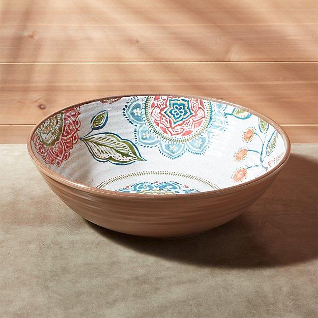 "Caprice 12"" Botanical Melamine Serving Bowl"