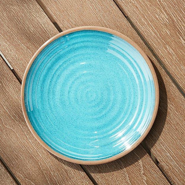 Caprice Aqua Melamine Dinner Plate - Image 1 of 4