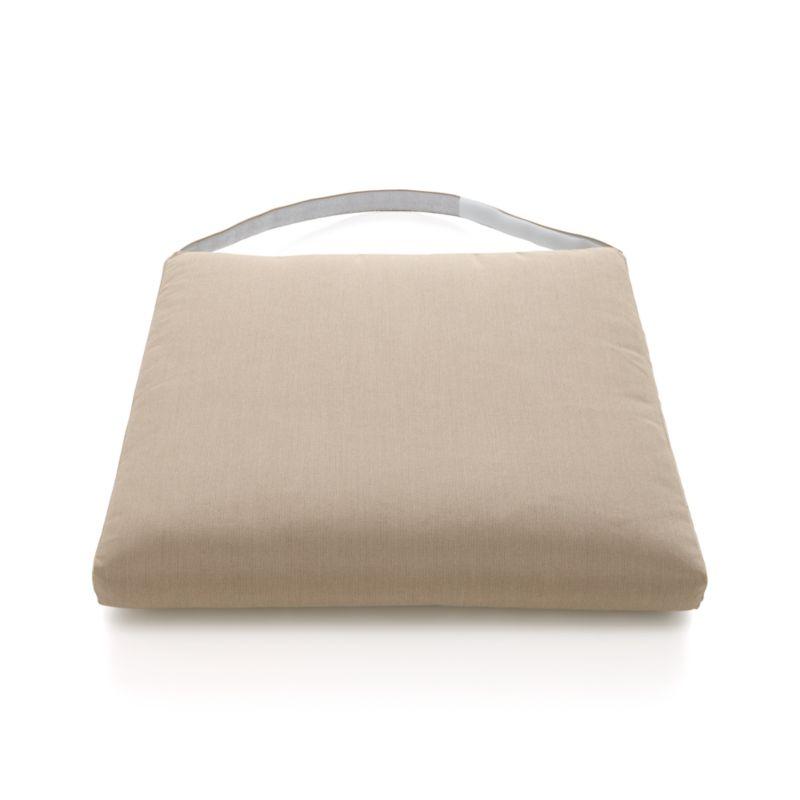 Add the smart Sunbrella® acrylic pillow with clean, no-welt styling in a lighter neutral. Plush cushion has a removable cover with self-covered fabric tab fasteners.<br /><br /><NEWTAG/><ul><li>100% Sunbrella acrylic</li><li>Foam core poly wrap fill with non-woven insert cover</li><li>Zipper closure</li><li>Self-covered fabric tab fasteners</li><li>Fade- and mildew-resistant</li><li>Spot clean</li><li>Made in USA</li></ul>