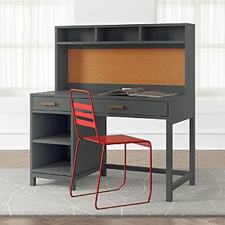 Kids Parke Charcoal Desk Hutch