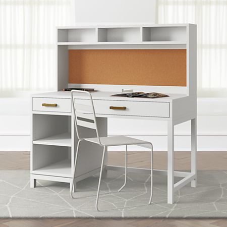 Kids Parke White Desk And Hutch