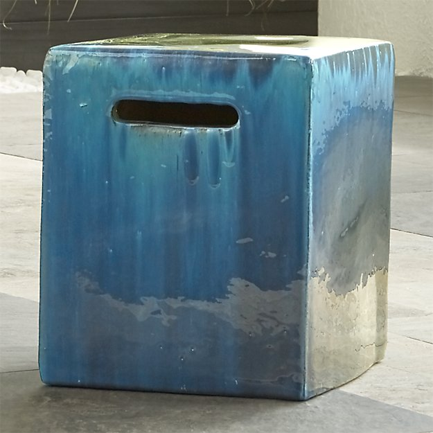 Carilo Blue Garden Stool Crate and Barrel