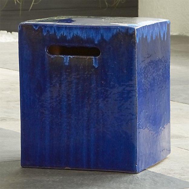 Carilo Cobalt Ceramic Garden Stool Crate and Barrel