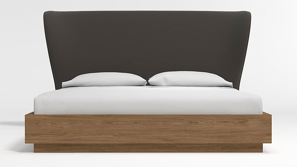 Carlie King Headboard with Batten Plinth-Base Bed Carbon - Image 1 of 3