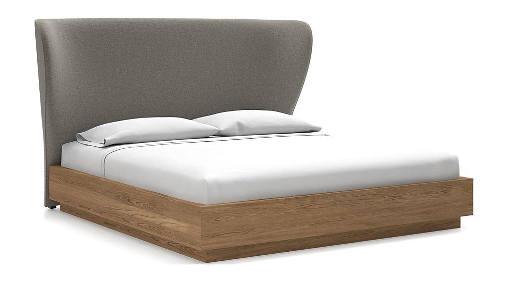 Carlie King Headboard with Batten Plinth-Base Bed Felt Grey - Image 1 of 1