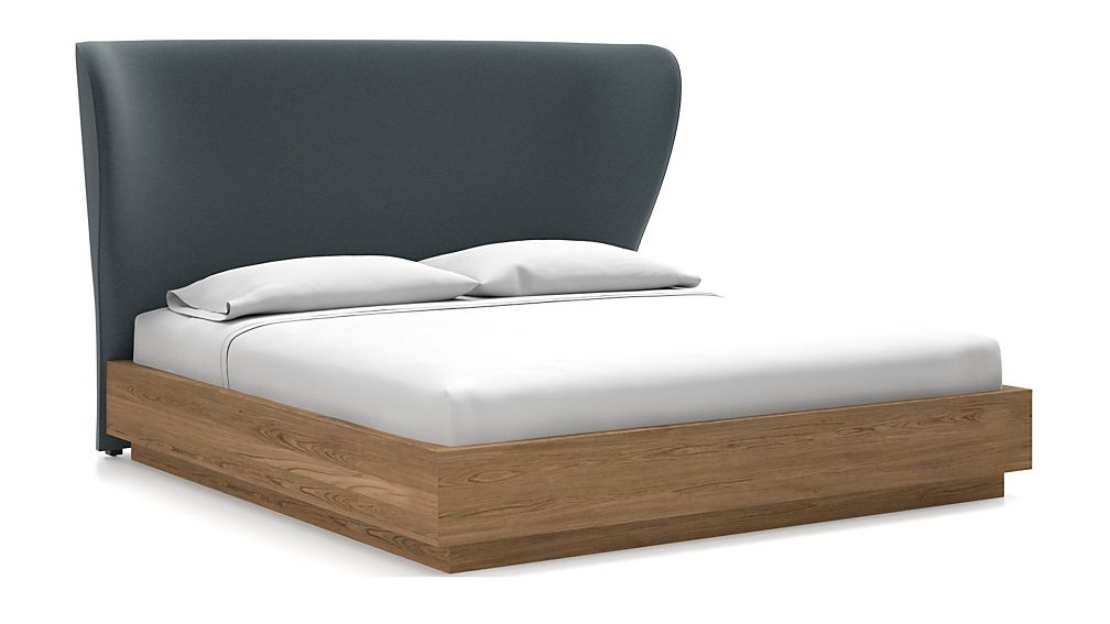 Carlie King Headboard with Batten Plinth-Base Bed Navy - Image 1 of 1